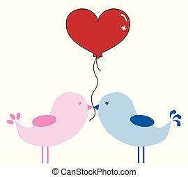 valentinkort, fåglar, med, balloon