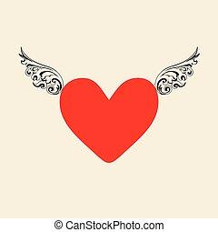 valentinkort, hjärta, dag