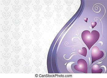 valentinkort, kort, violett, rosa