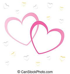valentinkort, tapet, hjärtan, ikonen