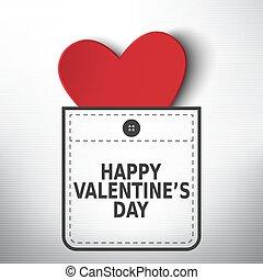 valentino, bolsillo, vector, diseño, día, feliz