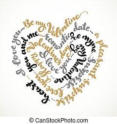 valentino, corazón, negro, s., plata, blanco, inscripción, ...