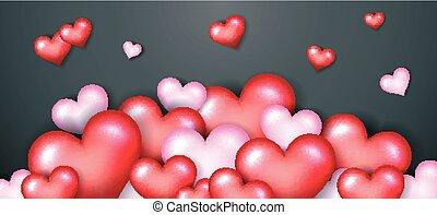 valentino, feliz, corazón, día, rojo