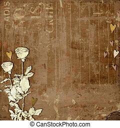 valentino, s., saludo, rosas, corazones, día, tarjeta