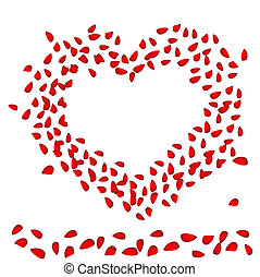 Valentin`s Day card with heart of rose petals