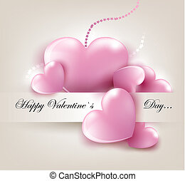 Valentin`s Day card with hearts - Valentin`s Day card with...