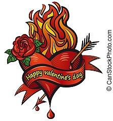 illustration of the valentin's day bleeding loving heart