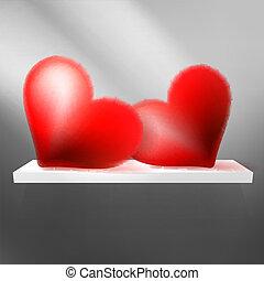 valentin`s, den, karta, s, hearts., +, eps10