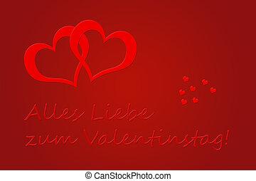 Valentinstag - Valentines Day greeting card in German