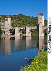 ∥, valentre, 橋, 中に, cahors, 町, フランス