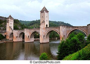 Medieval Valentre bridge in Carhors in southwest France