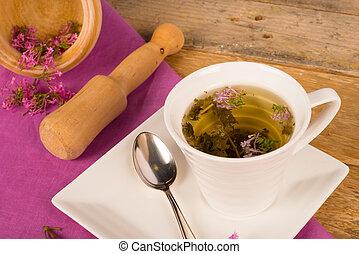 Valerian tea - Still life with a freshly prepared valerian...