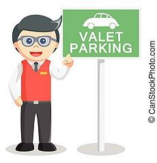 valet, ilustração, estacionamento