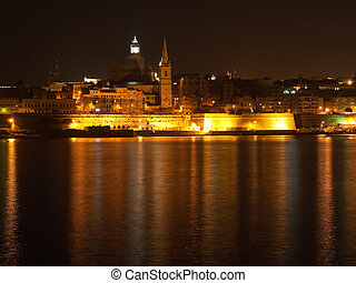 Valetta in night, Malta