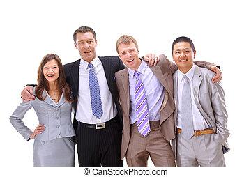 valeur, affaires gens, ethnique, heureux, ensemble, beaucoup