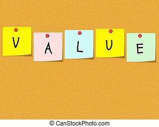 valeur, sur, corkboard, et, notes collantes