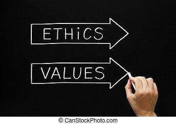 valeurs, éthique, concept, flèches