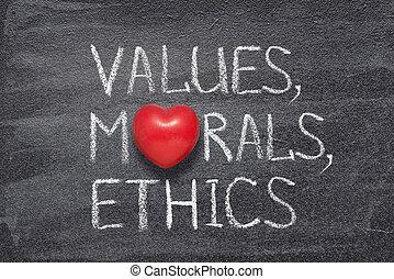 valeurs, morales, coeur, éthique