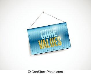 valeurs, noyau, bannière, illustration, pendre