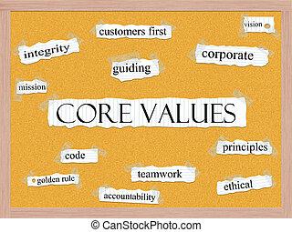 valeurs, noyau, concept, corkboard, mot