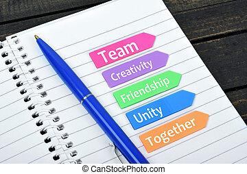 valeurs, texte, collaboration, flèches, collant