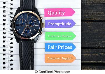 valeurs, texte, flèches, business, collant