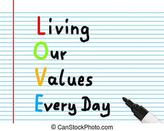 valeurs, vivant, jours, notre