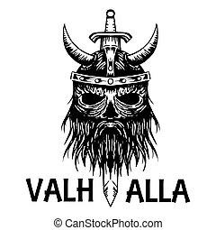 Valhalla symbol of Scandinavian ancient Viking head vector icon