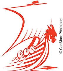 Valhalla Viking Ship - A very fast red stylized viking ship