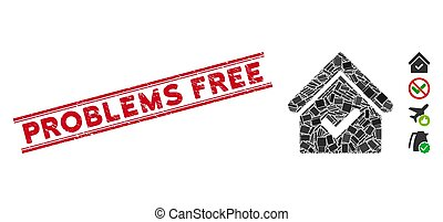 Valid House Mosaic and Grunge Problems Free Stamp with Lines