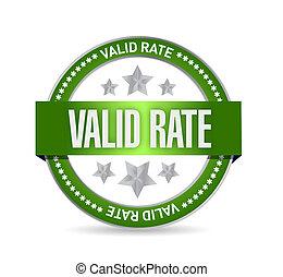 Valid rate seal illustration design over a white background