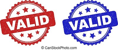 Rosette VALID seal stamps. Flat vector grunge seals with VALID phrase inside rosette shape with stars, in blue and red color versions. Imprints with grunge texture.