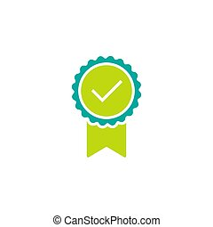 Valid Seal icon. Green and blue circle with ribbon and white tick. Quality guarantee.