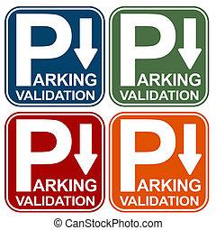 validación, señal de estacionamiento