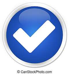 Validate icon blue glossy round button