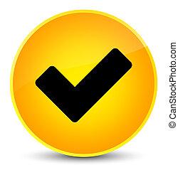 Validate icon elegant yellow round button