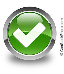 Validate icon glossy soft green round button