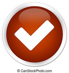 Validate icon premium brown round button