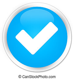 Validate icon premium cyan blue round button