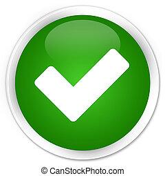 Validate icon premium green round button