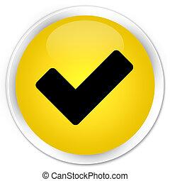 Validate icon premium yellow round button