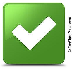 Validate icon soft green square button