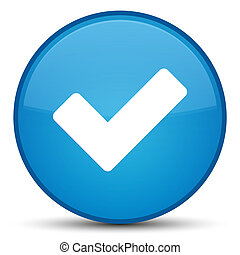 Validate icon special cyan blue round button