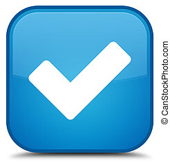 Validate icon special cyan blue square button