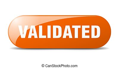 validated button. sticker. banner. rounded glass sign
