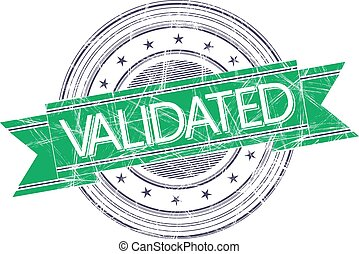 Validated stamp - Validated grunge rubber stamp on white