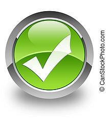 Validation glossy icon - validation icon on glossy green...