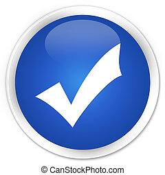 Validation icon blue glossy round button