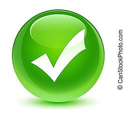 Validation icon glassy green round button