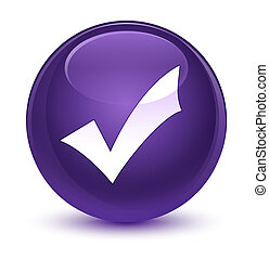 Validation icon glassy purple round button